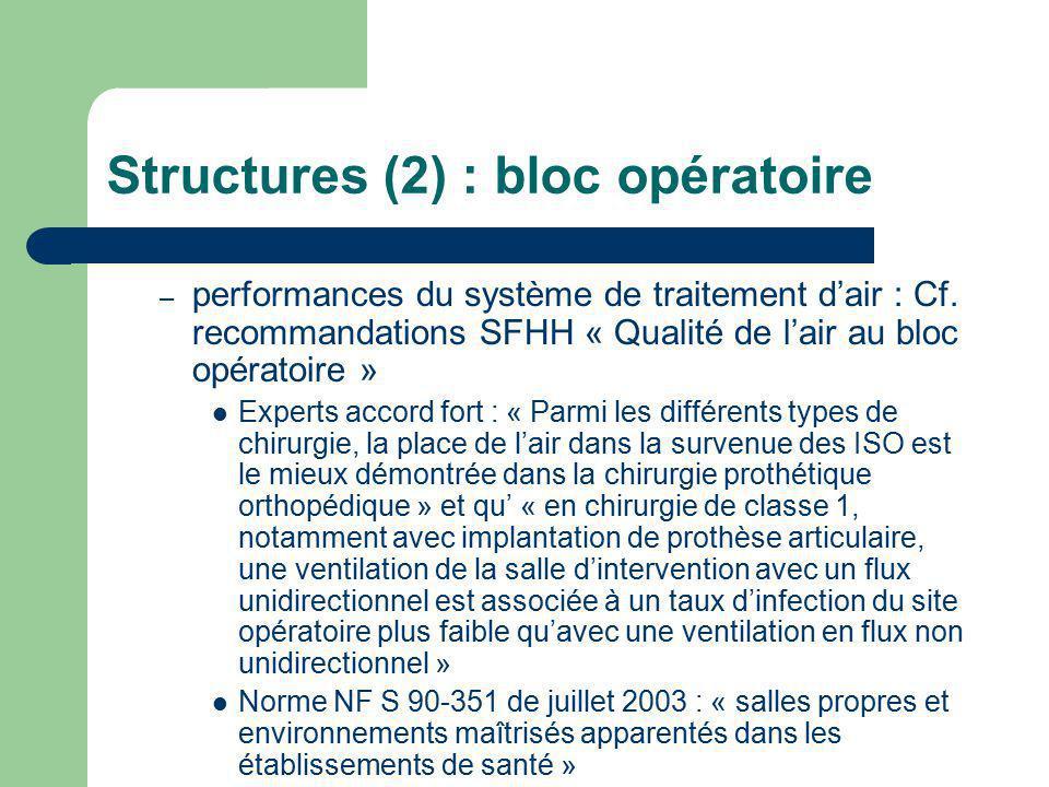 Structures (2) : bloc opératoire – performances du système de traitement dair : Cf. recommandations SFHH « Qualité de lair au bloc opératoire » Expert