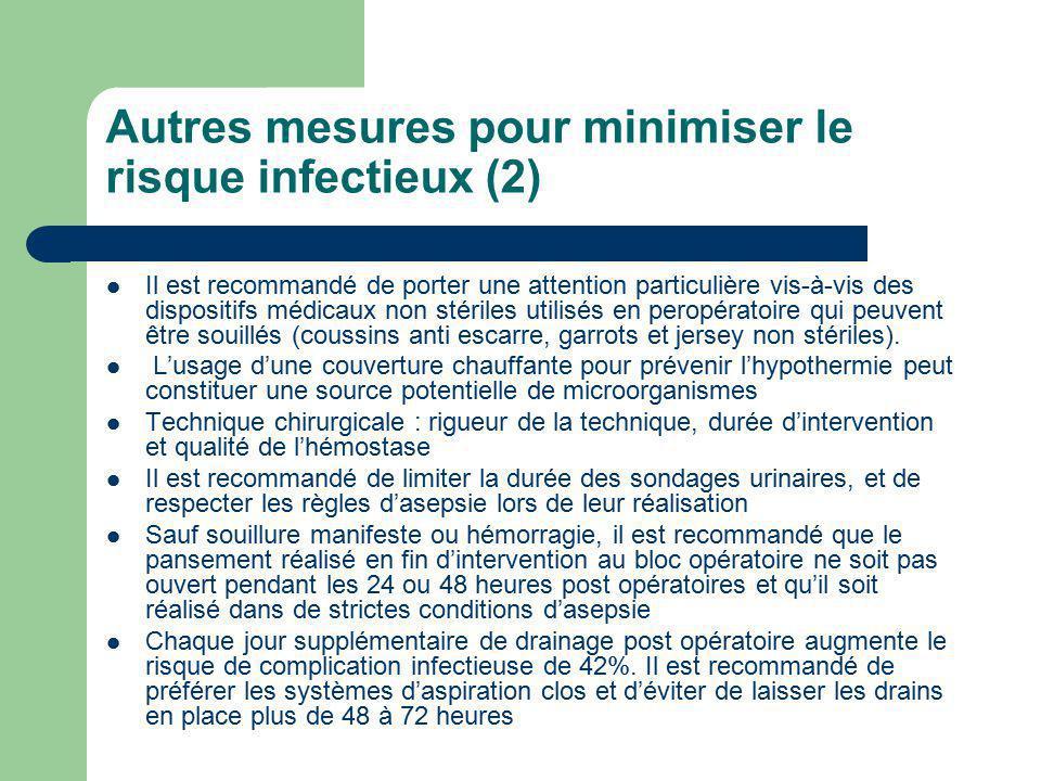 Autres mesures pour minimiser le risque infectieux (2) Il est recommandé de porter une attention particulière vis-à-vis des dispositifs médicaux non s