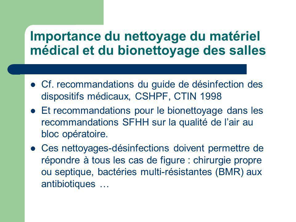 Importance du nettoyage du matériel médical et du bionettoyage des salles Cf. recommandations du guide de désinfection des dispositifs médicaux, CSHPF