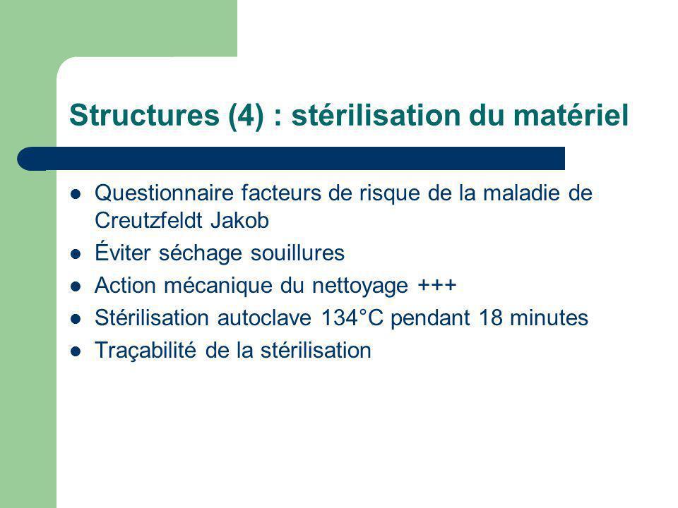 Structures (4) : stérilisation du matériel Questionnaire facteurs de risque de la maladie de Creutzfeldt Jakob Éviter séchage souillures Action mécani