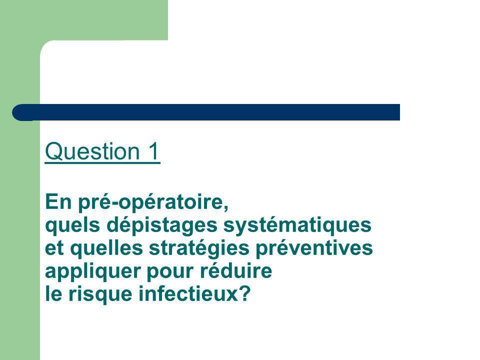 Question 1 En pré-opératoire, quels dépistages systématiques et quelles stratégies préventives appliquer pour réduire le risque infectieux?