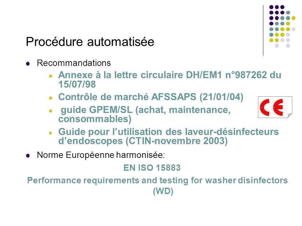 Procédure automatisée Recommandations Annexe à la lettre circulaire DH/EM1 n°987262 du 15/07/98 Contrôle de marché AFSSAPS (21/01/04) guide GPEM/SL (achat, maintenance, consommables) Guide pour lutilisation des laveur-désinfecteurs dendoscopes (CTIN-novembre 2003) Norme Européenne harmonisée: EN ISO 15883 Performance requirements and testing for washer disinfectors (WD)