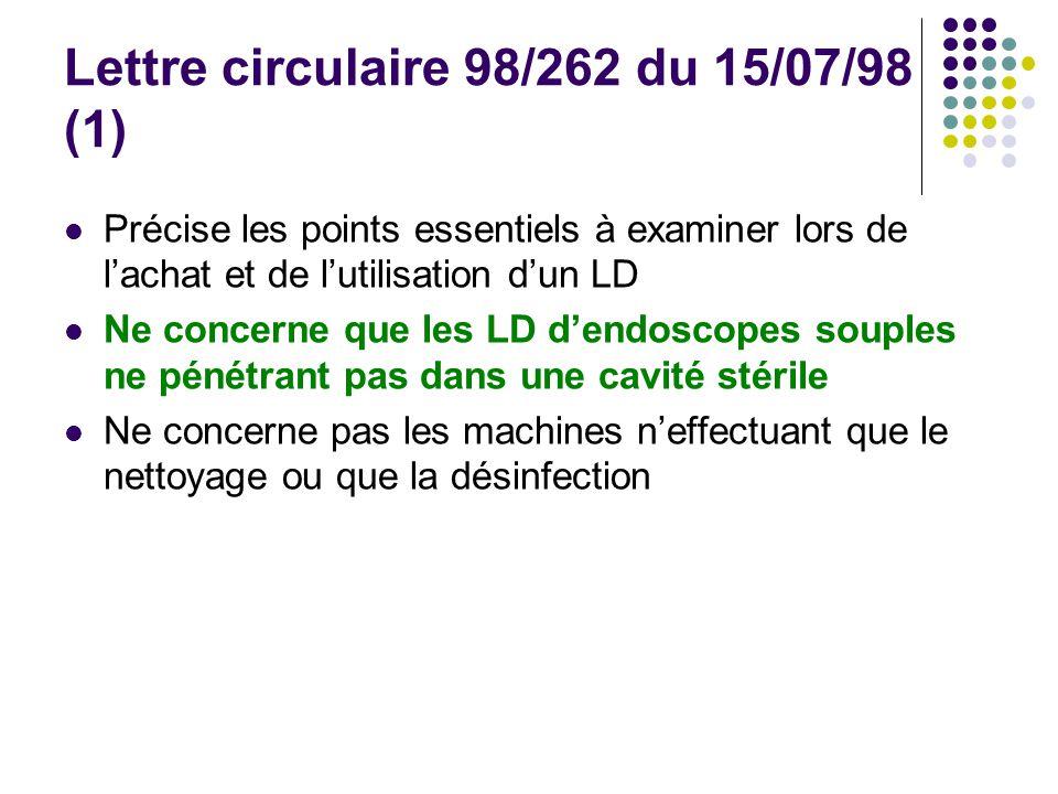 Lettre circulaire 98/262 du 15/07/98 (1) Précise les points essentiels à examiner lors de lachat et de lutilisation dun LD Ne concerne que les LD dend