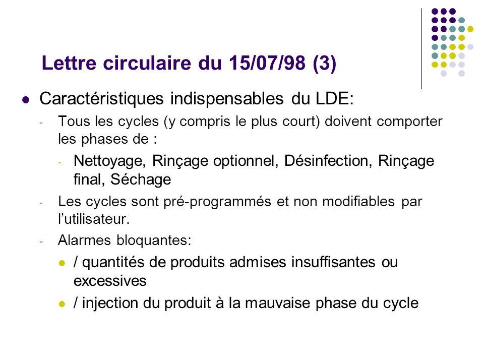 Lettre circulaire du 15/07/98 (3) Caractéristiques indispensables du LDE: - Tous les cycles (y compris le plus court) doivent comporter les phases de : - Nettoyage, Rinçage optionnel, Désinfection, Rinçage final, Séchage - Les cycles sont pré-programmés et non modifiables par lutilisateur.