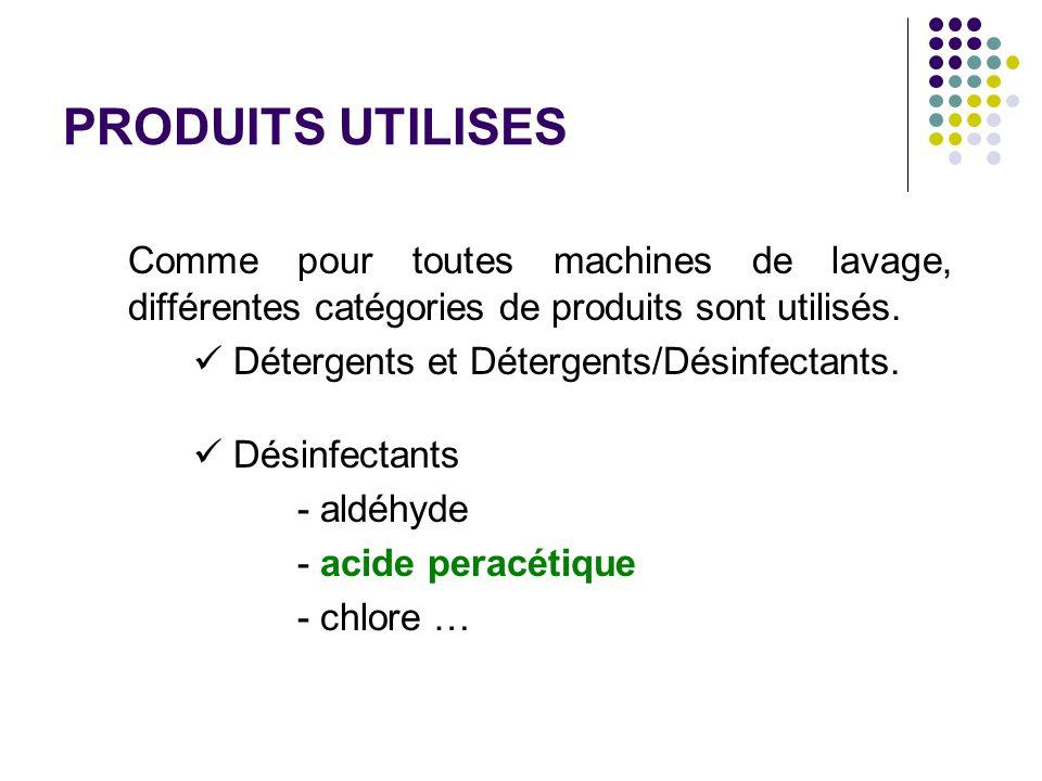 PRODUITS UTILISES Comme pour toutes machines de lavage, différentes catégories de produits sont utilisés. Détergents et Détergents/Désinfectants. Dési