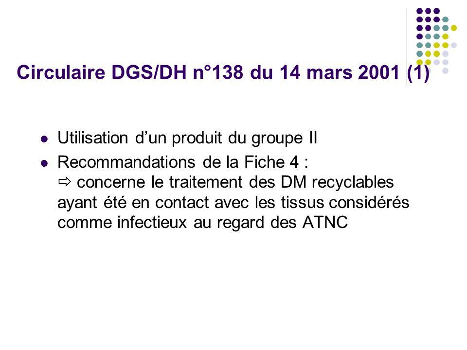 Circulaire DGS/DH n°138 du 14 mars 2001 (1) Utilisation dun produit du groupe II Recommandations de la Fiche 4 : concerne le traitement des DM recyclables ayant été en contact avec les tissus considérés comme infectieux au regard des ATNC