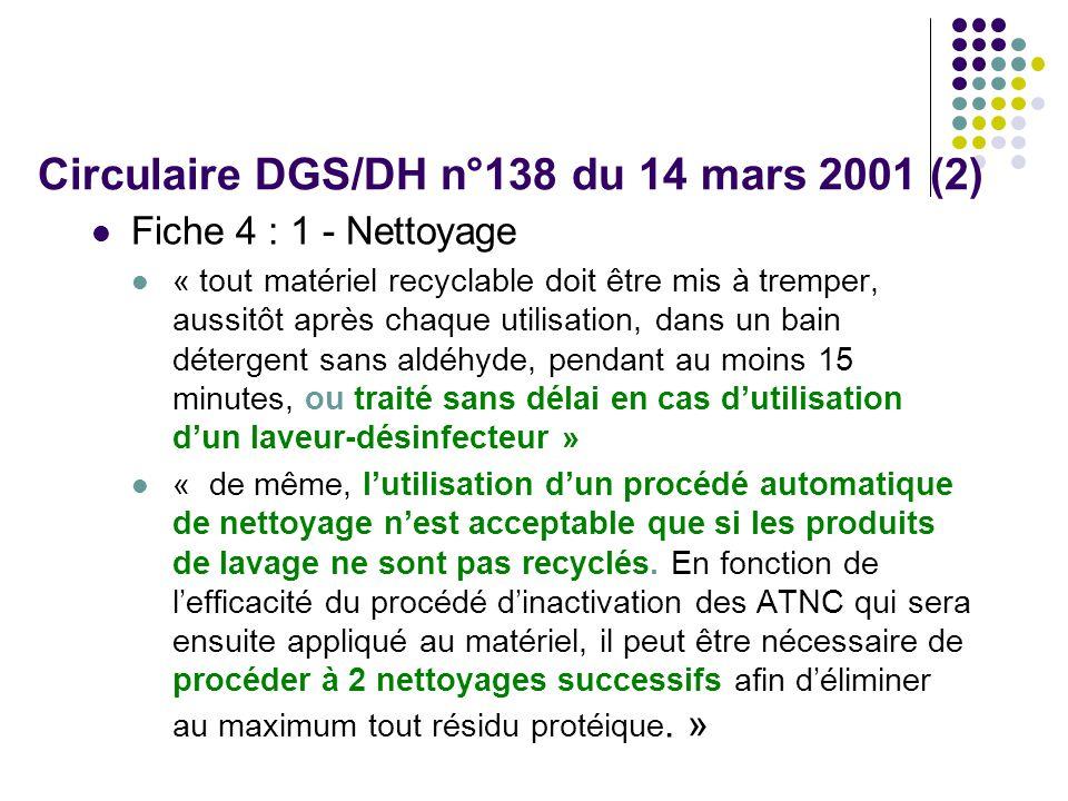 Circulaire DGS/DH n°138 du 14 mars 2001 (2) Fiche 4 : 1 - Nettoyage « tout matériel recyclable doit être mis à tremper, aussitôt après chaque utilisation, dans un bain détergent sans aldéhyde, pendant au moins 15 minutes, ou traité sans délai en cas dutilisation dun laveur-désinfecteur » « de même, lutilisation dun procédé automatique de nettoyage nest acceptable que si les produits de lavage ne sont pas recyclés.