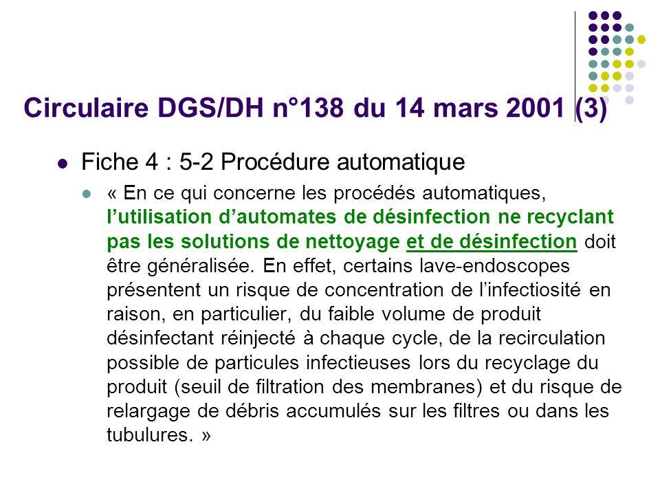 Circulaire DGS/DH n°138 du 14 mars 2001 (3) Fiche 4 : 5-2 Procédure automatique « En ce qui concerne les procédés automatiques, lutilisation dautomates de désinfection ne recyclant pas les solutions de nettoyage et de désinfection doit être généralisée.