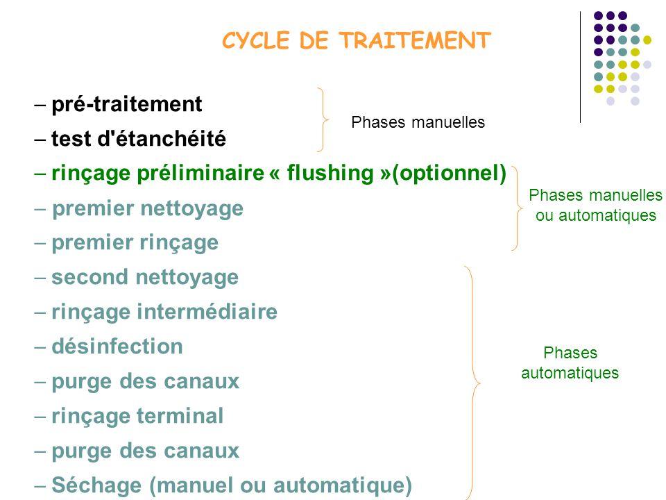 CYCLE DE TRAITEMENT pré-traitement test d'étanchéité rinçage préliminaire « flushing »(optionnel) premier nettoyage premier rinçage second nettoyage r