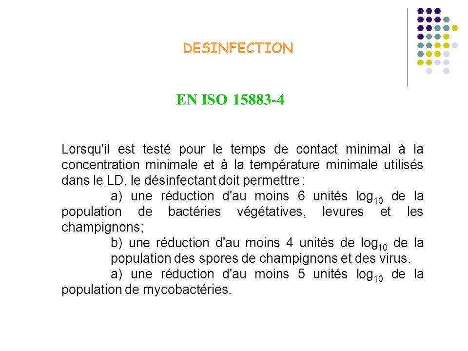 DESINFECTION Lorsqu'il est testé pour le temps de contact minimal à la concentration minimale et à la température minimale utilisés dans le LD, le dés