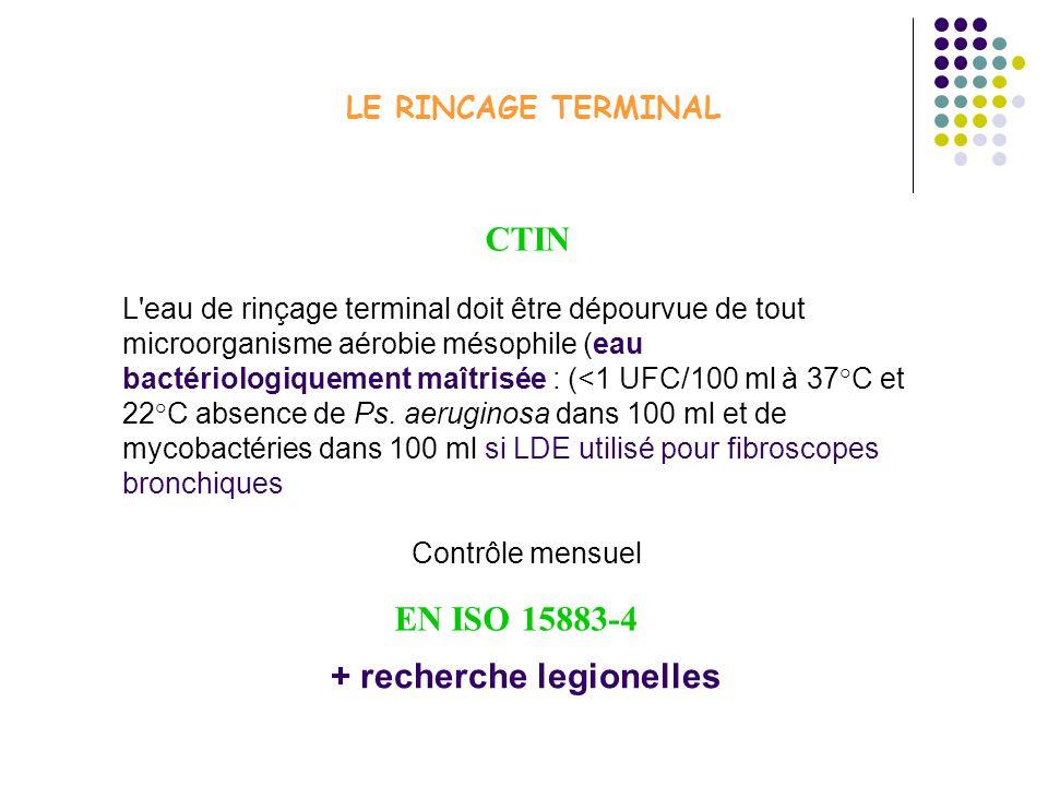 LE RINCAGE TERMINAL L eau de rinçage terminal doit être dépourvue de tout microorganisme aérobie mésophile (eau bactériologiquement maîtrisée : (<1 UFC/100 ml à 37°C et 22°C absence de Ps.