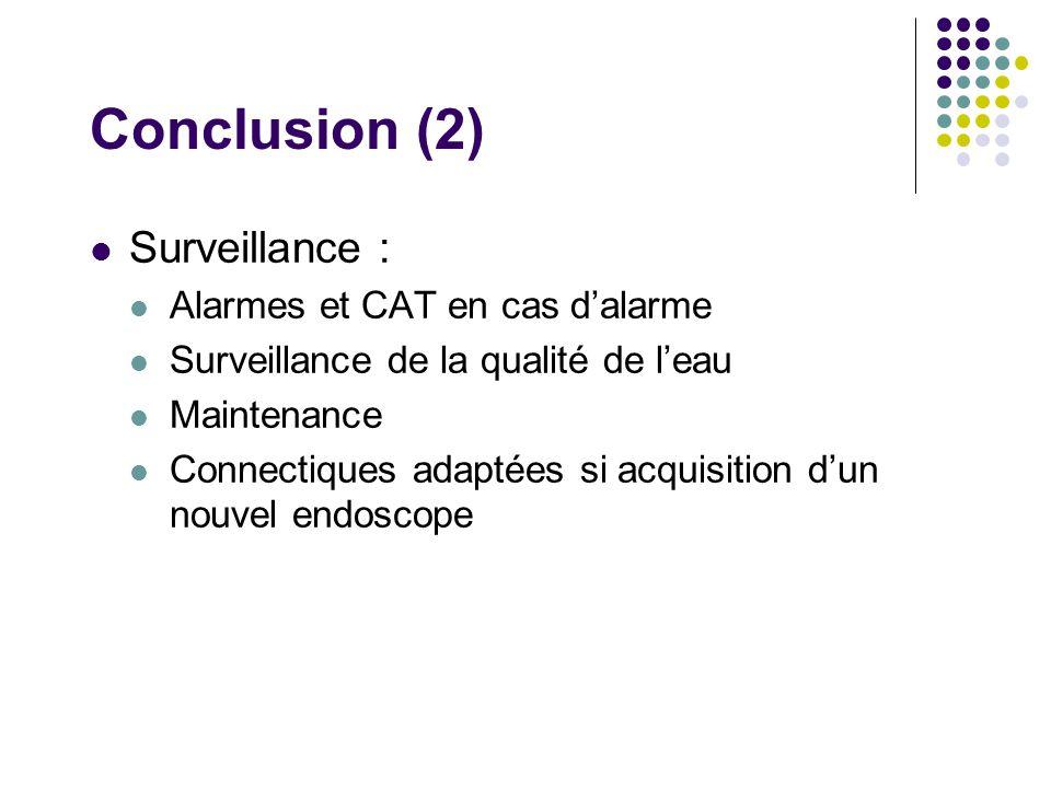 Conclusion (2) Surveillance : Alarmes et CAT en cas dalarme Surveillance de la qualité de leau Maintenance Connectiques adaptées si acquisition dun nouvel endoscope