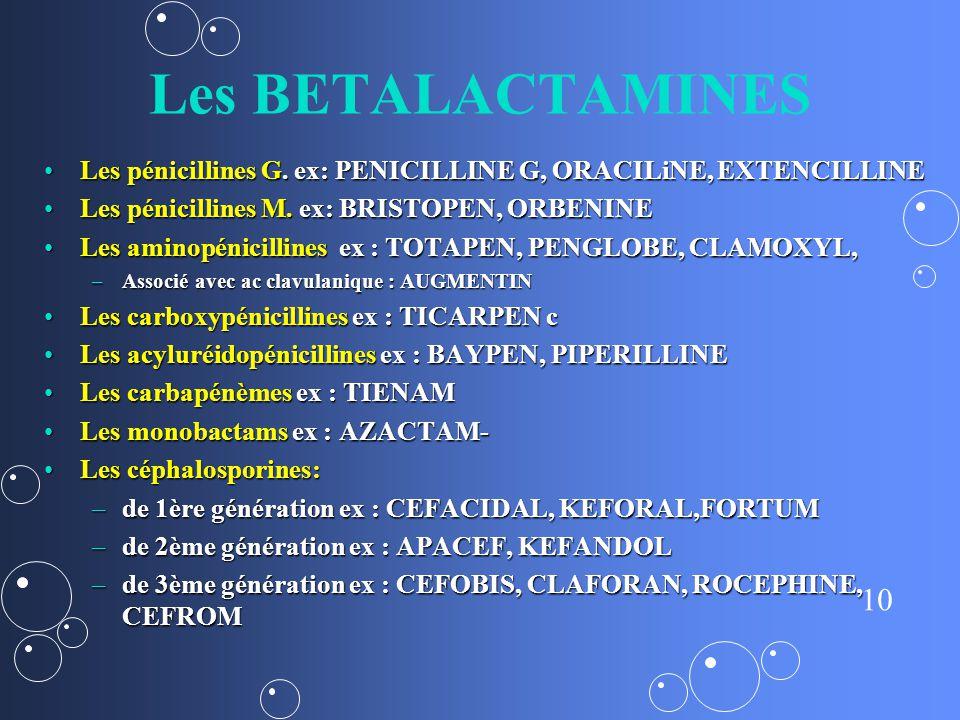 10 Les BETALACTAMINES Les pénicillines G.