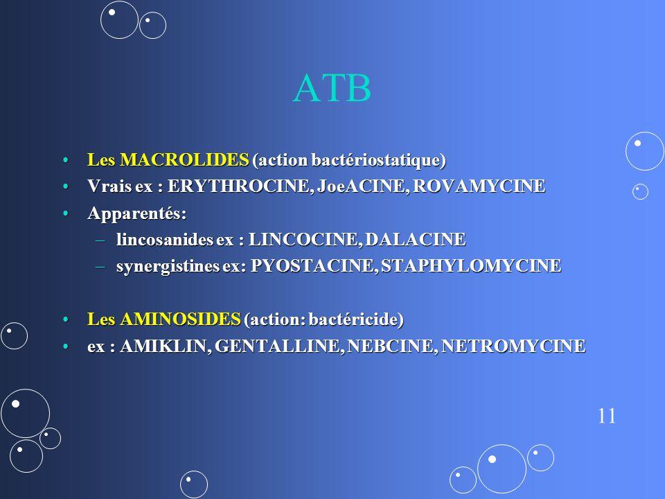 11 ATB Les MACROLIDES (action bactériostatique)Les MACROLIDES (action bactériostatique) Vrais ex : ERYTHROCINE, JoeACINE, ROVAMYCINEVrais ex : ERYTHROCINE, JoeACINE, ROVAMYCINE Apparentés:Apparentés: –lincosanides ex : LINCOCINE, DALACINE –synergistines ex: PYOSTACINE, STAPHYLOMYCINE Les AMINOSIDES (action: bactéricide)Les AMINOSIDES (action: bactéricide) ex : AMIKLIN, GENTALLINE, NEBCINE, NETROMYCINEex : AMIKLIN, GENTALLINE, NEBCINE, NETROMYCINE