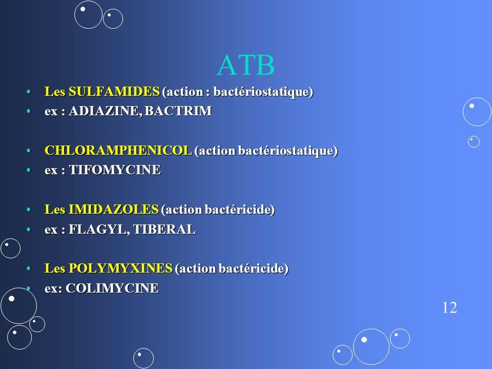 12 ATB Les SULFAMIDES (action : bactériostatique)Les SULFAMIDES (action : bactériostatique) ex : ADIAZINE, BACTRIMex : ADIAZINE, BACTRIM CHLORAMPHENICOL (action bactériostatique)CHLORAMPHENICOL (action bactériostatique) ex : TIFOMYCINEex : TIFOMYCINE Les IMIDAZOLES (action bactéricide)Les IMIDAZOLES (action bactéricide) ex : FLAGYL, TIBERALex : FLAGYL, TIBERAL Les POLYMYXINES (action bactéricide)Les POLYMYXINES (action bactéricide) ex: COLIMYCINEex: COLIMYCINE