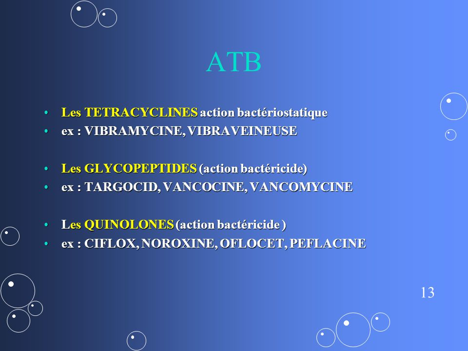 13 ATB Les TETRACYCLINES action bactériostatiqueLes TETRACYCLINES action bactériostatique ex : VIBRAMYCINE, VIBRAVEINEUSEex : VIBRAMYCINE, VIBRAVEINEUSE Les GLYCOPEPTIDES (action bactéricide)Les GLYCOPEPTIDES (action bactéricide) ex : TARGOCID, VANCOCINE, VANCOMYCINEex : TARGOCID, VANCOCINE, VANCOMYCINE Les QUINOLONES (action bactéricide )Les QUINOLONES (action bactéricide ) ex : CIFLOX, NOROXINE, OFLOCET, PEFLACINEex : CIFLOX, NOROXINE, OFLOCET, PEFLACINE