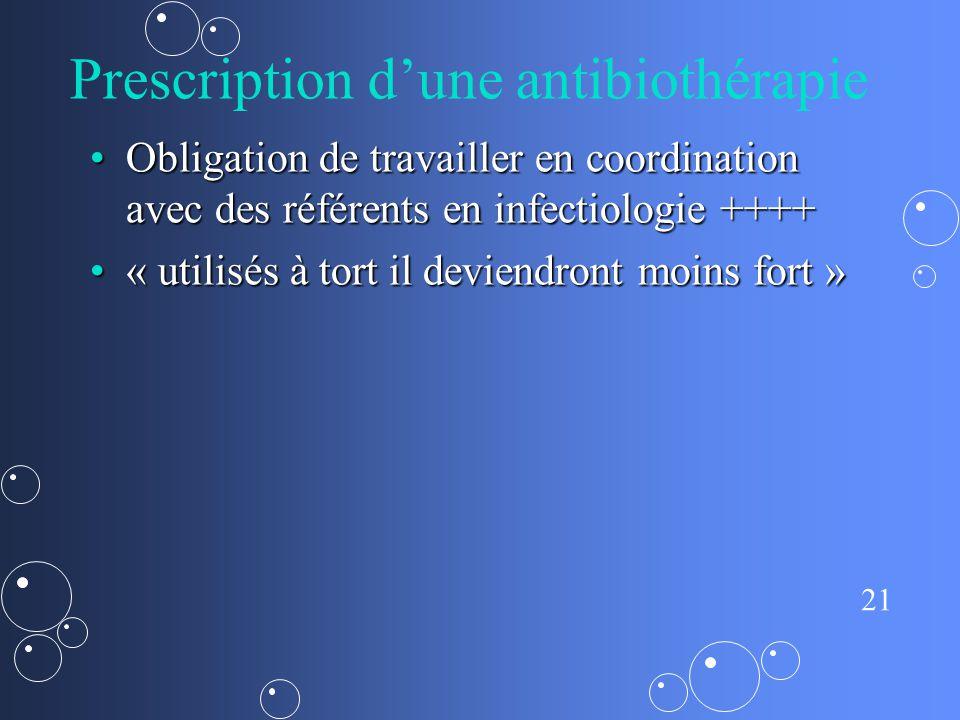 21 Prescription dune antibiothérapie Obligation de travailler en coordination avec des référents en infectiologie ++++Obligation de travailler en coordination avec des référents en infectiologie ++++ « utilisés à tort il deviendront moins fort »« utilisés à tort il deviendront moins fort »