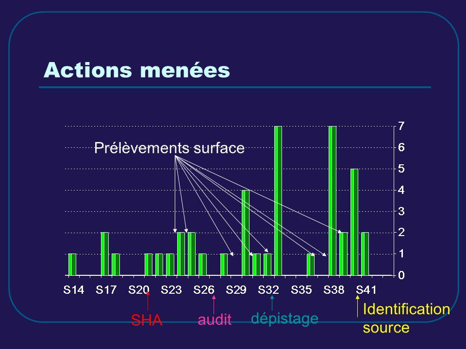 Actions menées dépistage audit Prélèvements surface Identification source SHA