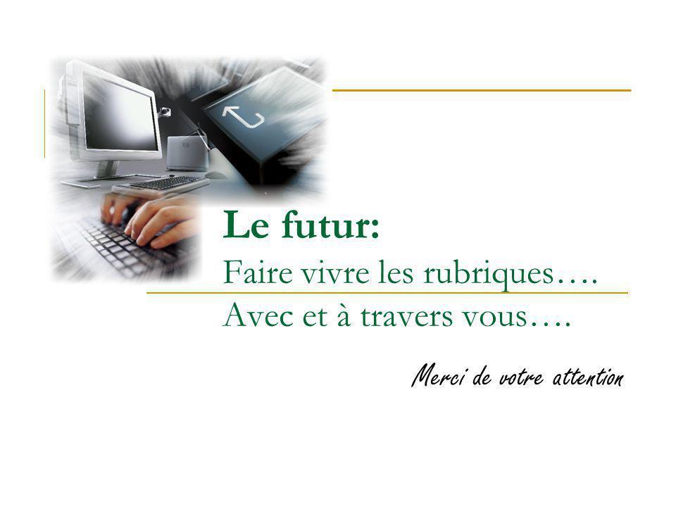 Le futur: Faire vivre les rubriques…. Avec et à travers vous…. Merci de votre attention