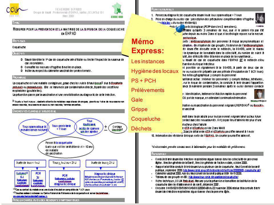 Mémo Express: Les instances Hygiène des locaux PS + PCH Prélèvements Gale Grippe Coqueluche Déchets