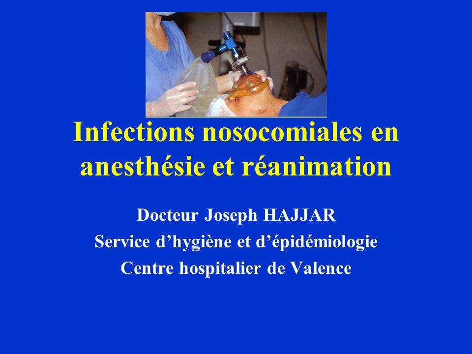 Infections nosocomiales en anesthésie et réanimation Docteur Joseph HAJJAR Service dhygiène et dépidémiologie Centre hospitalier de Valence