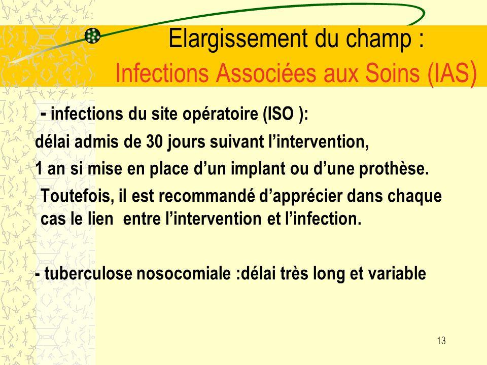 12 Elargissement du champ : Infections Associées aux Soins (IAS ) Lorsque létat infectieux au début de la prise en charge nest pas connu précisément,