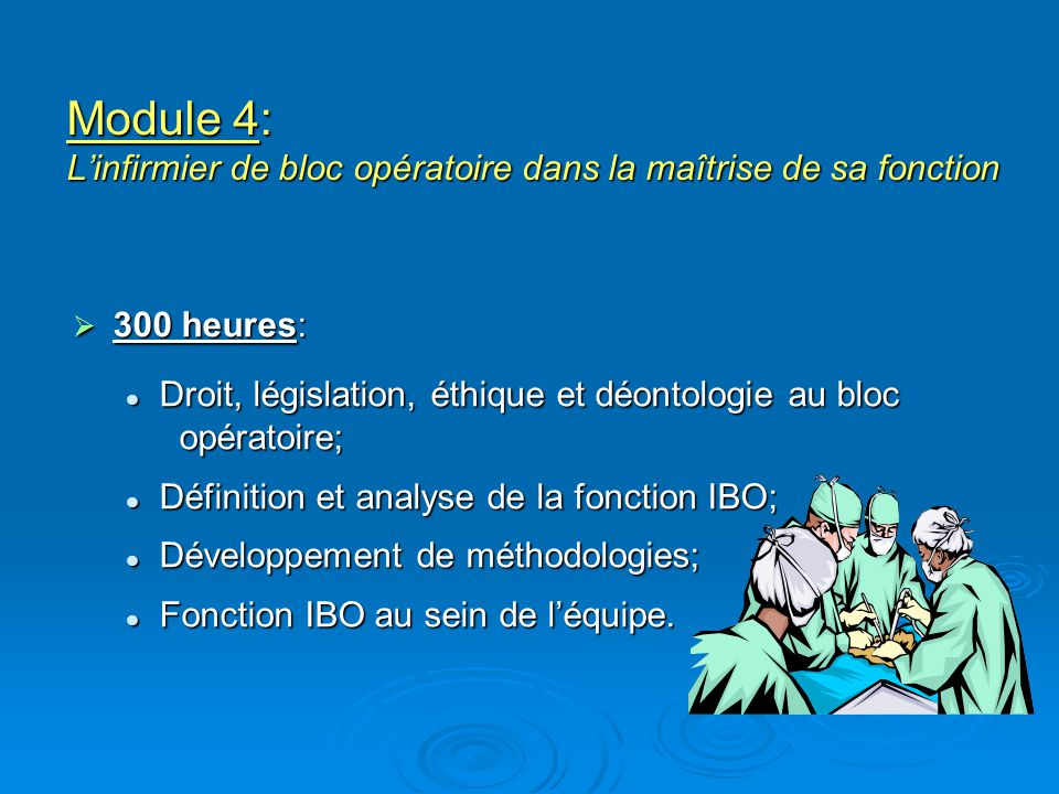 Module 4: Linfirmier de bloc opératoire dans la maîtrise de sa fonction 300 heures: 300 heures: Droit, législation, éthique et déontologie au bloc opé