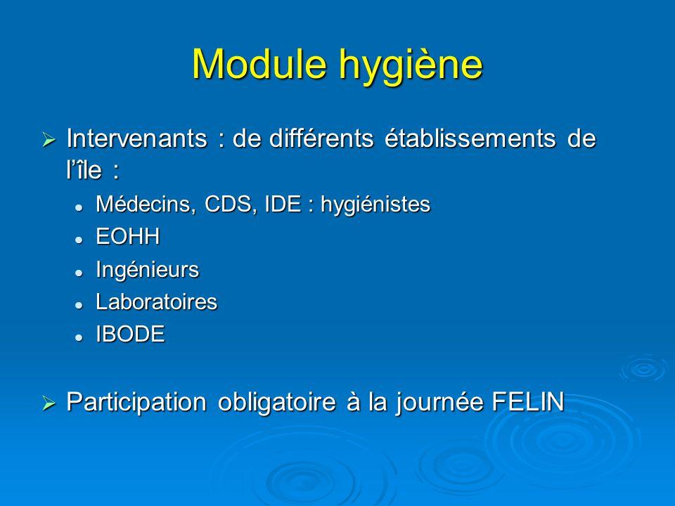 Module hygiène Intervenants : de différents établissements de lîle : Intervenants : de différents établissements de lîle : Médecins, CDS, IDE : hygién