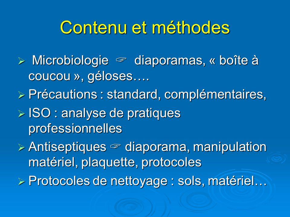 Contenu et méthodes Microbiologie diaporamas, « boîte à coucou », géloses…. Microbiologie diaporamas, « boîte à coucou », géloses…. Précautions : stan