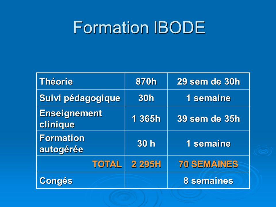 Formation IBODE Théorie870h 29 sem de 30h Suivi pédagogique 30h 1 semaine Enseignement clinique 1 365h 39 sem de 35h Formation autogérée 30 h 1 semain