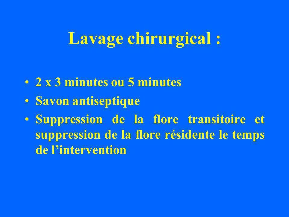 Lavage chirurgical : 2 x 3 minutes ou 5 minutes Savon antiseptique Suppression de la flore transitoire et suppression de la flore résidente le temps de lintervention