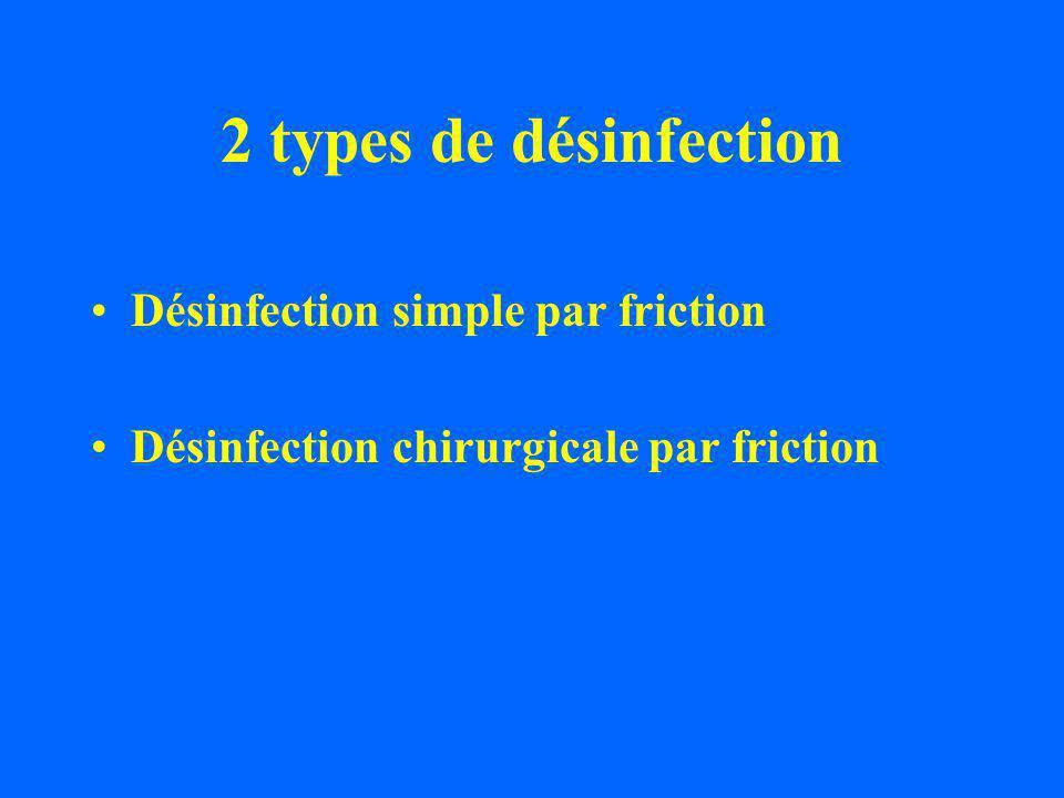 2 types de désinfection Désinfection simple par friction Désinfection chirurgicale par friction