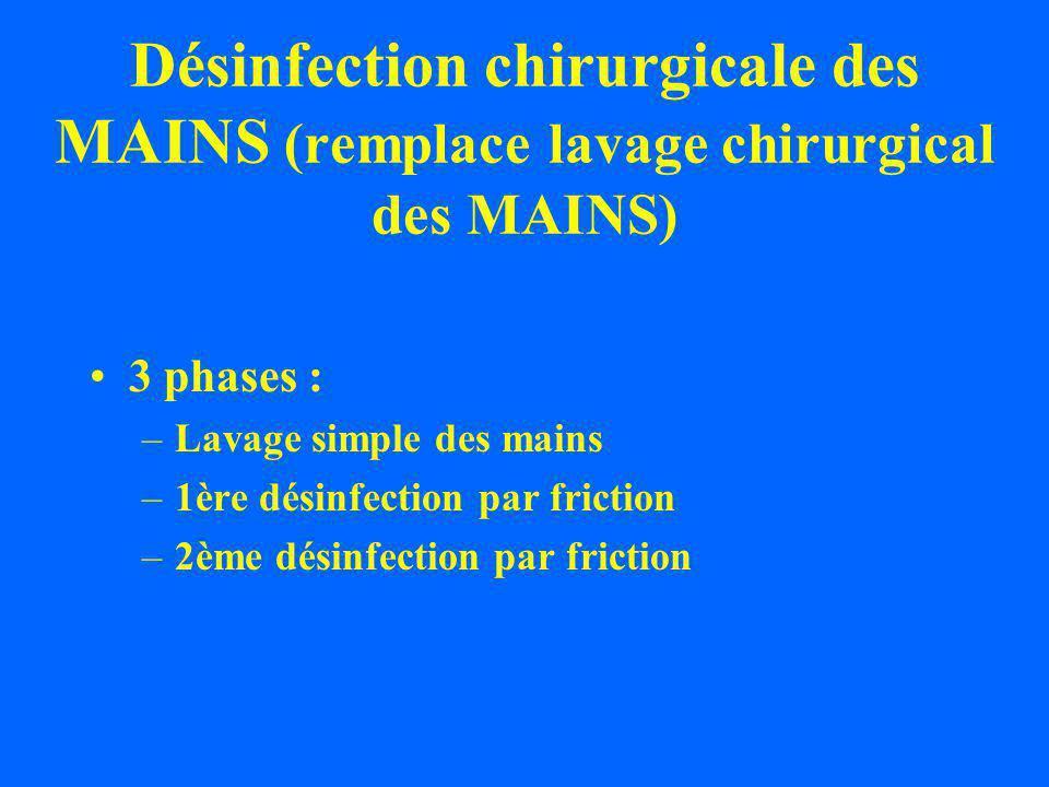 Désinfection chirurgicale des MAINS (remplace lavage chirurgical des MAINS) 3 phases : –Lavage simple des mains –1ère désinfection par friction –2ème désinfection par friction