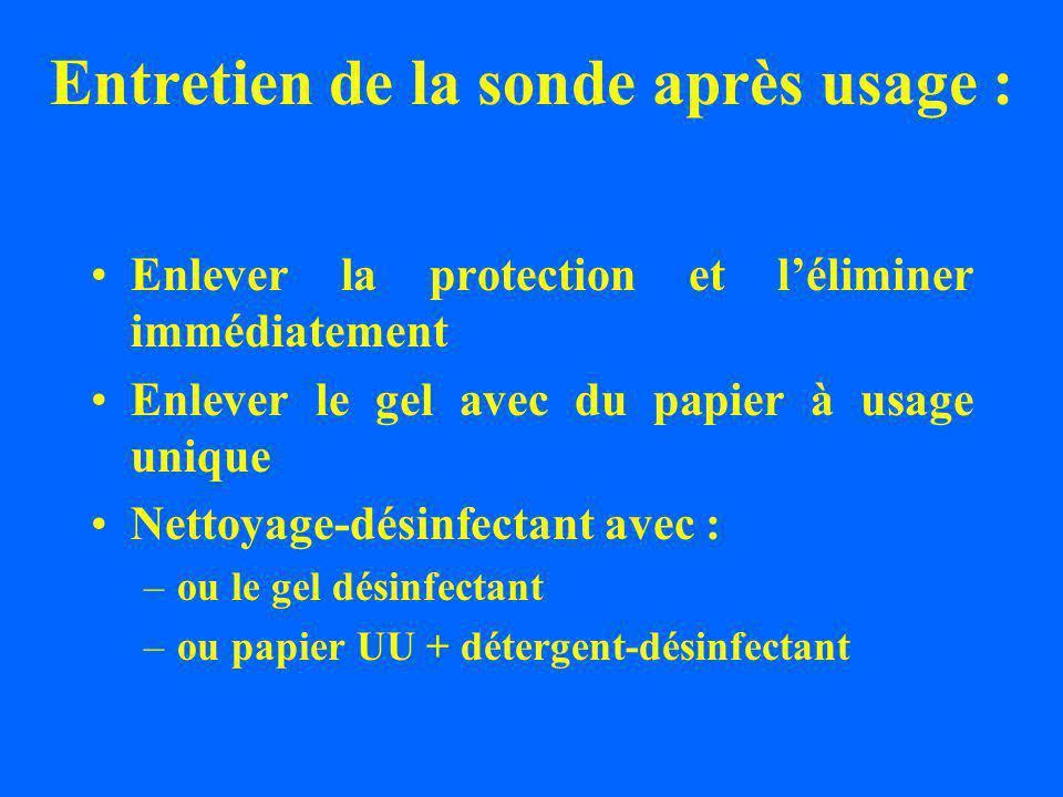 Entretien de la sonde après usage : Enlever la protection et léliminer immédiatement Enlever le gel avec du papier à usage unique Nettoyage-désinfectant avec : –ou le gel désinfectant –ou papier UU + détergent-désinfectant