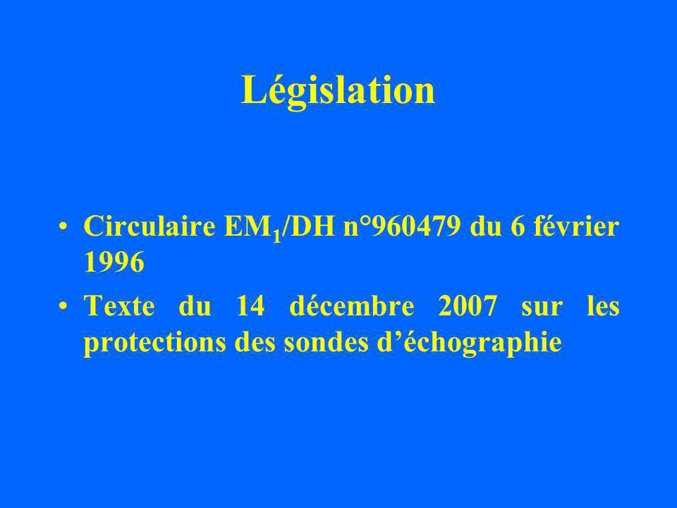 Législation Circulaire EM 1 /DH n°960479 du 6 février 1996 Texte du 14 décembre 2007 sur les protections des sondes déchographie
