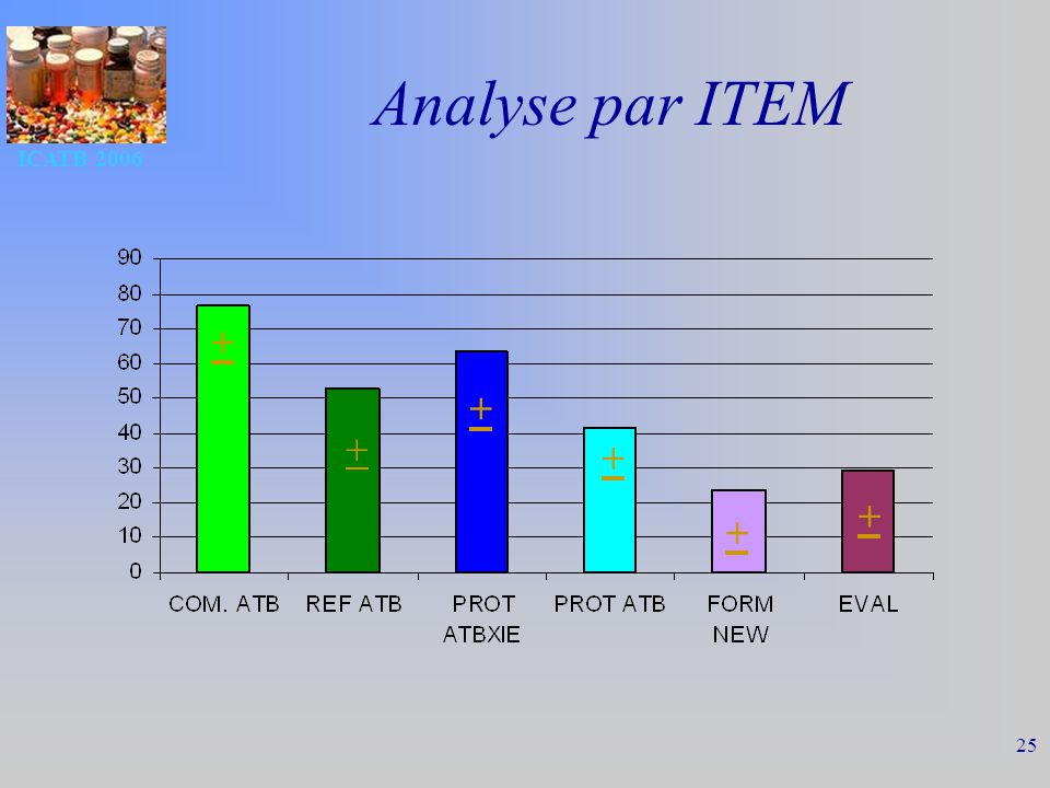 ICATB 2006 25 Analyse par ITEM + + + + + +