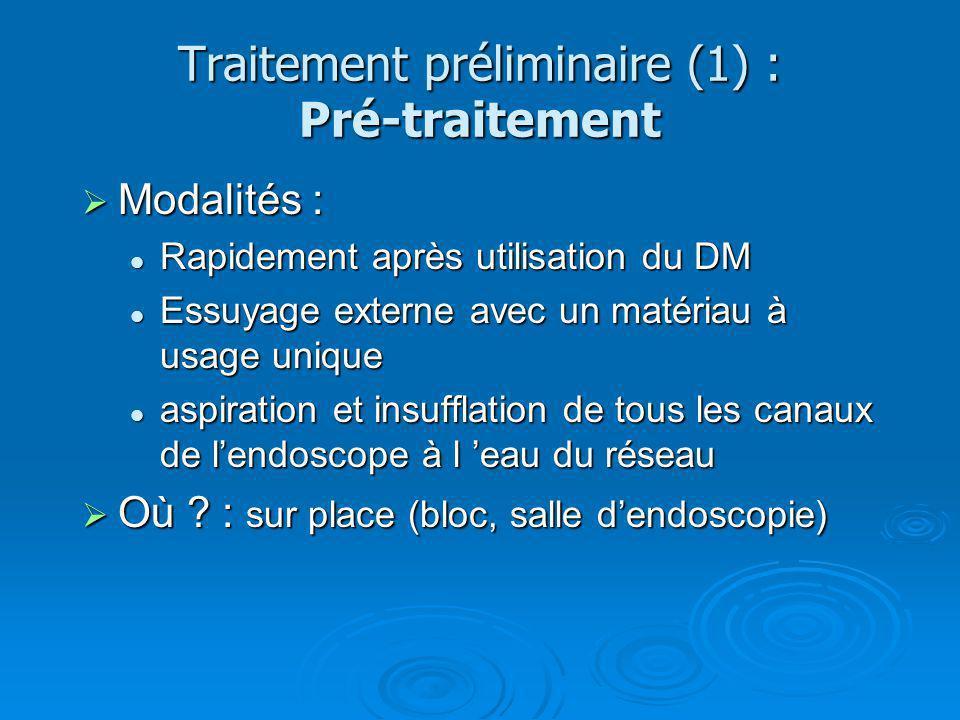 Traitement préliminaire (1) : Pré-traitement Modalités : Modalités : Rapidement après utilisation du DM Rapidement après utilisation du DM Essuyage ex