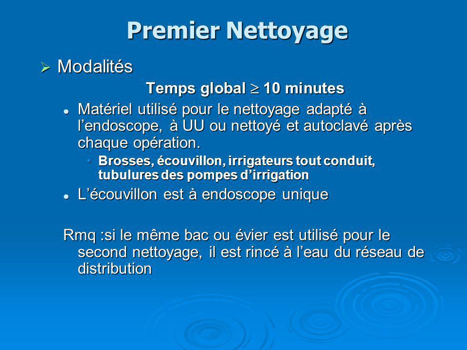 Premier Nettoyage Modalités Modalités Temps global 10 minutes Matériel utilisé pour le nettoyage adapté à lendoscope, à UU ou nettoyé et autoclavé apr