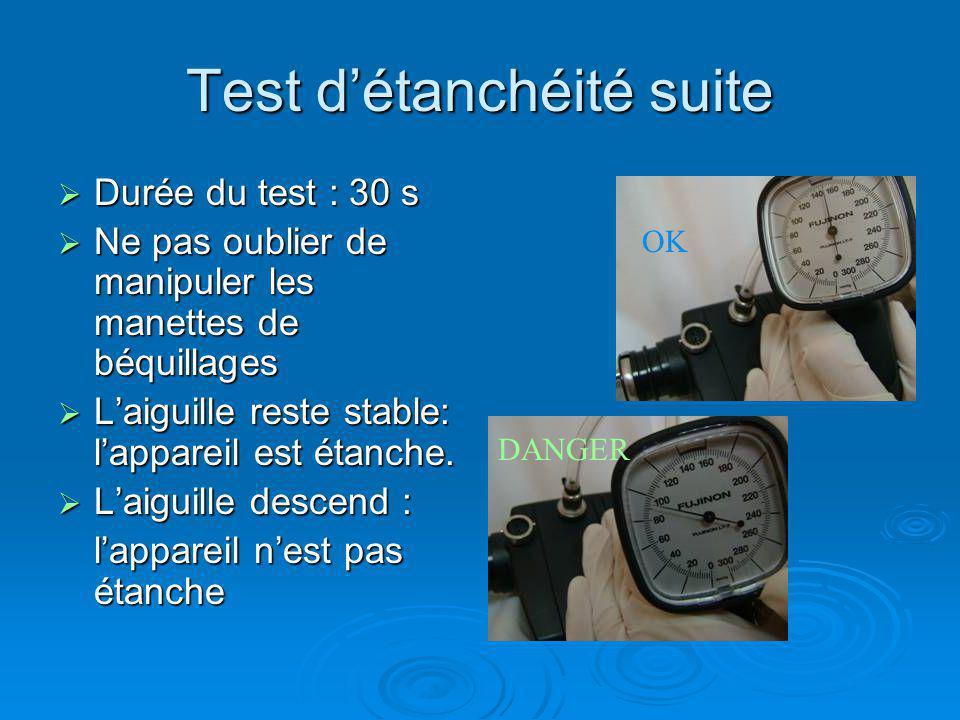 Fin du test détanchéité Dégonfler lendoscope Dégonfler lendoscope