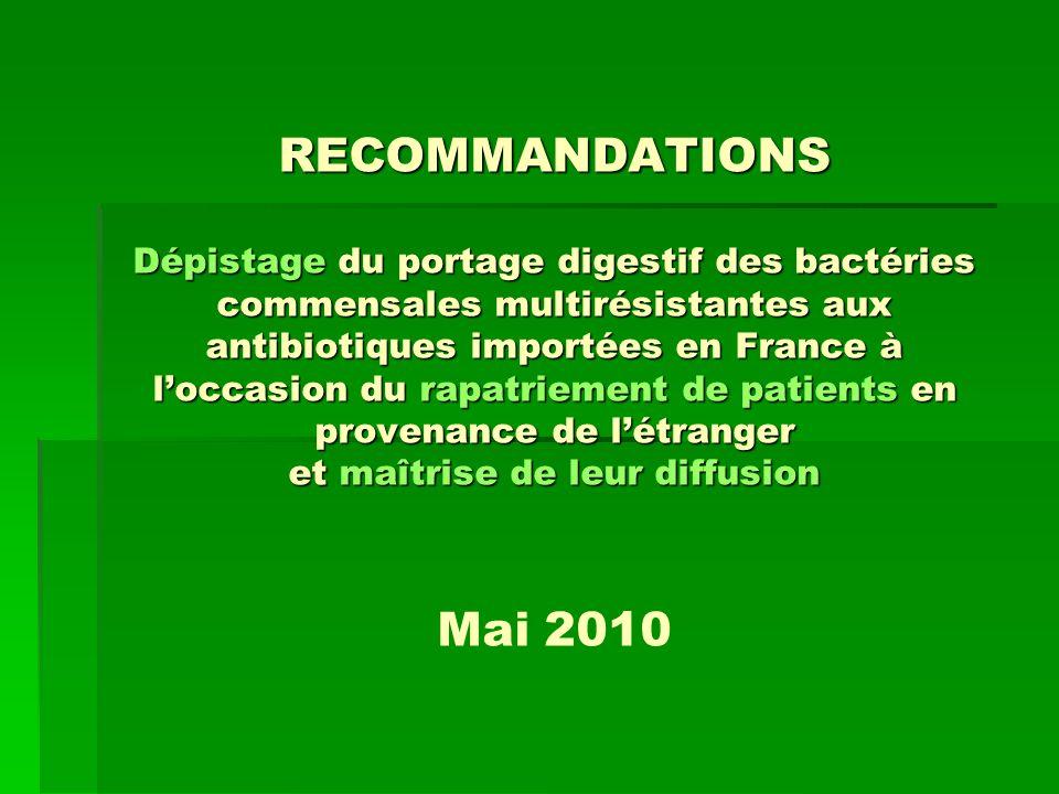RECOMMANDATIONS Dépistage du portage digestif des bactéries commensales multirésistantes aux antibiotiques importées en France à loccasion du rapatrie