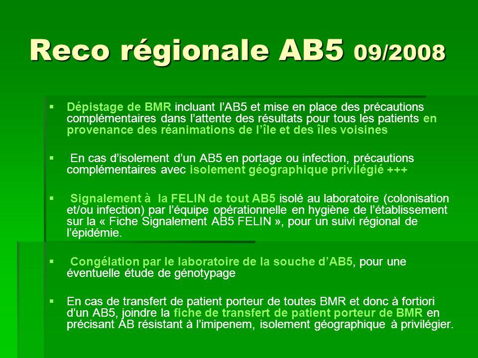 Reco régionale AB5 09/2008 Dépistage de BMR incluant lAB5 et mise en place des précautions complémentaires dans lattente des résultats pour tous les p