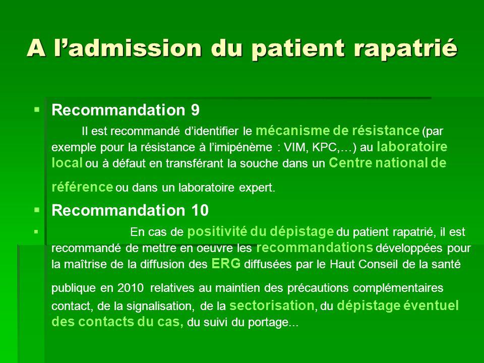 A ladmission du patient rapatrié Recommandation 9 Il est recommandé didentifier le mécanisme de résistance (par exemple pour la résistance à limipénèm