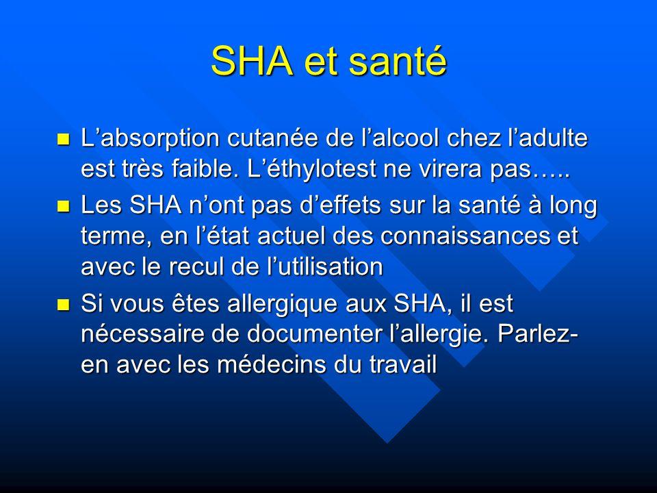 SHA et santé Labsorption cutanée de lalcool chez ladulte est très faible. Léthylotest ne virera pas….. Labsorption cutanée de lalcool chez ladulte est