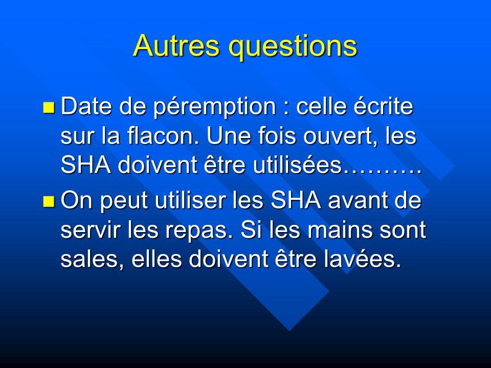 Autres questions Date de péremption : celle écrite sur la flacon. Une fois ouvert, les SHA doivent être utilisées………. Date de péremption : celle écrit