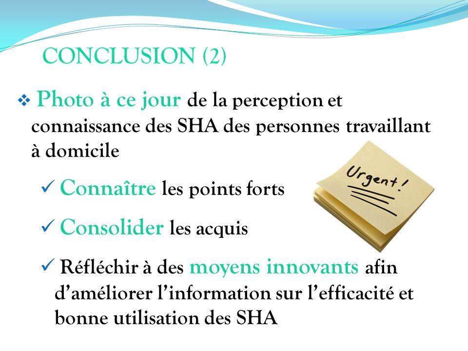 Photo à ce jour de la perception et connaissance des SHA des personnes travaillant à domicile Connaître les points forts Consolider les acquis Réfléch