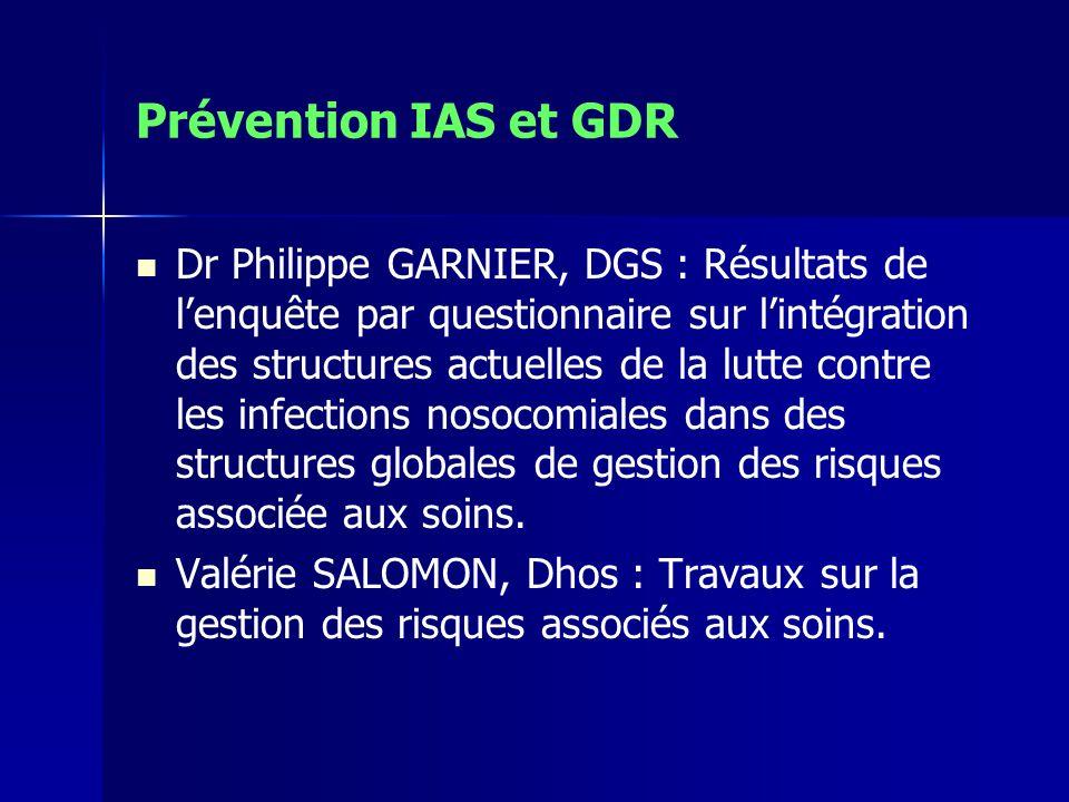 Prévention IAS et GDR Dr Philippe GARNIER, DGS : Résultats de lenquête par questionnaire sur lintégration des structures actuelles de la lutte contre les infections nosocomiales dans des structures globales de gestion des risques associée aux soins.