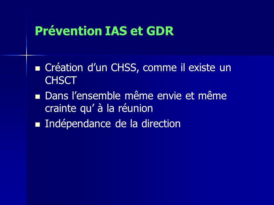 Prévention IAS et GDR Création dun CHSS, comme il existe un CHSCT Dans lensemble même envie et même crainte qu à la réunion Indépendance de la direction