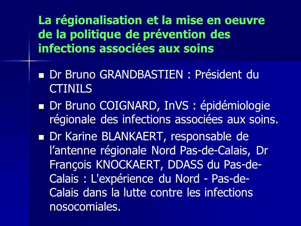 La régionalisation et la mise en oeuvre de la politique de prévention des infections associées aux soins Dr Bruno GRANDBASTIEN : Président du CTINILS Dr Bruno COIGNARD, InVS : épidémiologie régionale des infections associées aux soins.