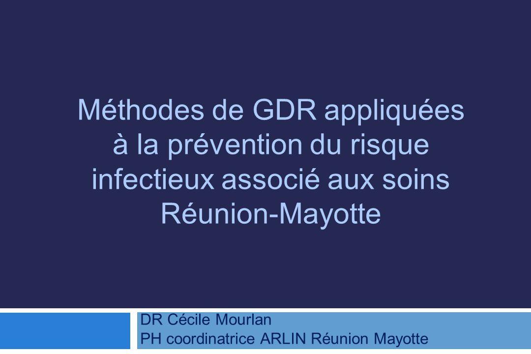 Méthodes de GDR appliquées à la prévention du risque infectieux associé aux soins Réunion-Mayotte DR Cécile Mourlan PH coordinatrice ARLIN Réunion Mayotte