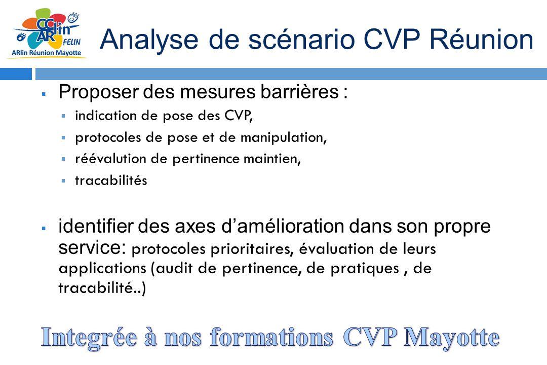 Proposer des mesures barrières : indication de pose des CVP, protocoles de pose et de manipulation, réévalution de pertinence maintien, tracabilités i